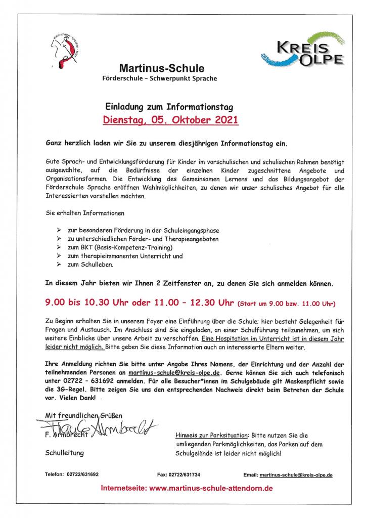 Einladung Martinus-Schule - Informationstag 2021